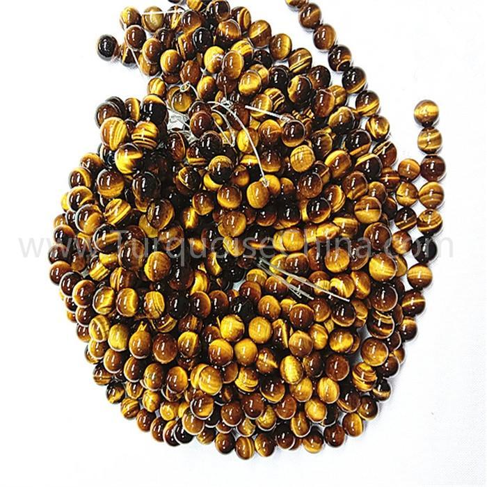 Natural yellow tiger eye stone round shape beads gemstone strings