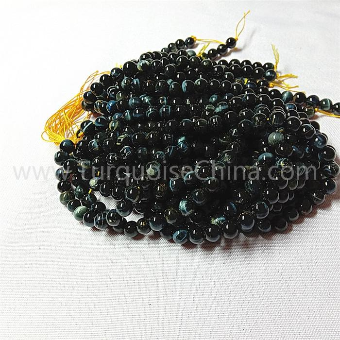 Natural Blue tiger eye stone round shape beads gemstone strings