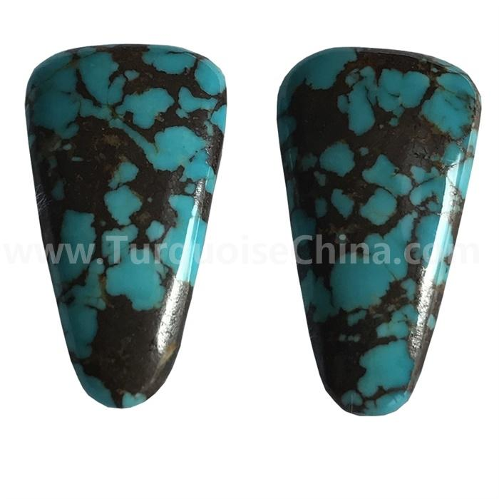 Geometric Turquoise Cabochon Pair Royston natural ribbon turquoise