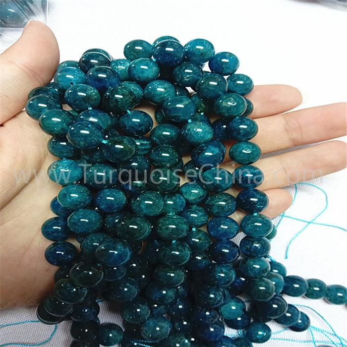 Natural Blue Apatite round shape beads gemstone strings AA