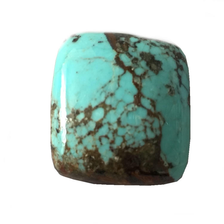 Spiderweb turquoise cabochon trapezoid shape Light brown with dark brown