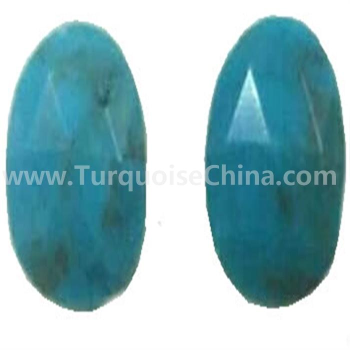 Blue color turquoise faceted cabochon