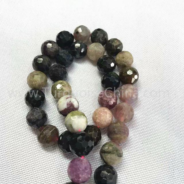 Natural Tourmaline round faceted beads mixed color gemstone strings