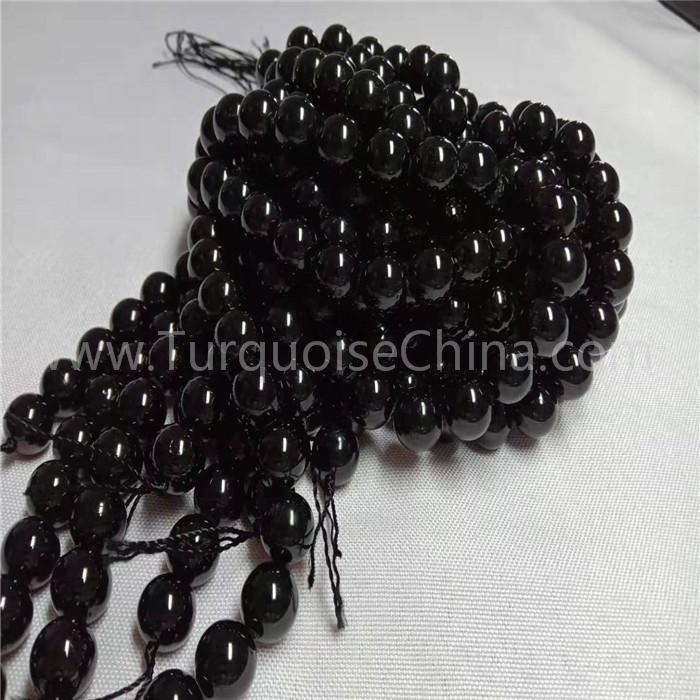 Natural Black Tourmaline round shape beads smooth gemstone strings