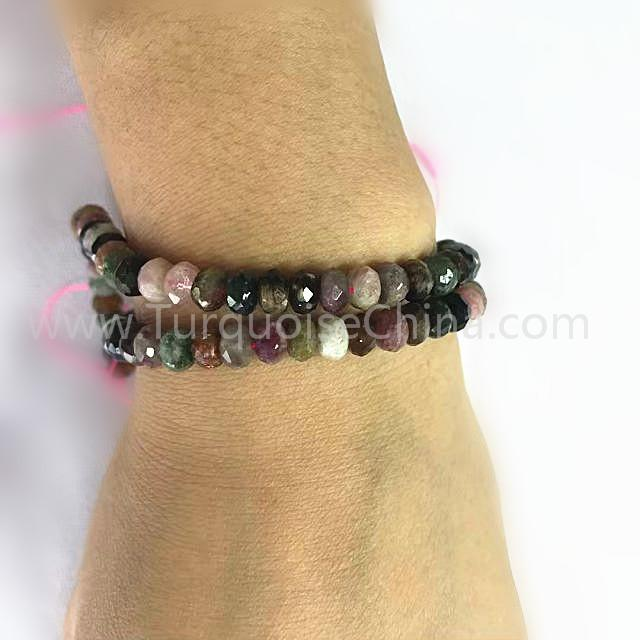 Natural Tourmaline Rondelle Faceted beads mixed colours gemstone strings