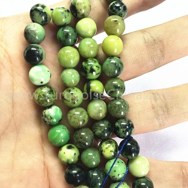 Natural green Chrysotine round shape beads gemstone strings