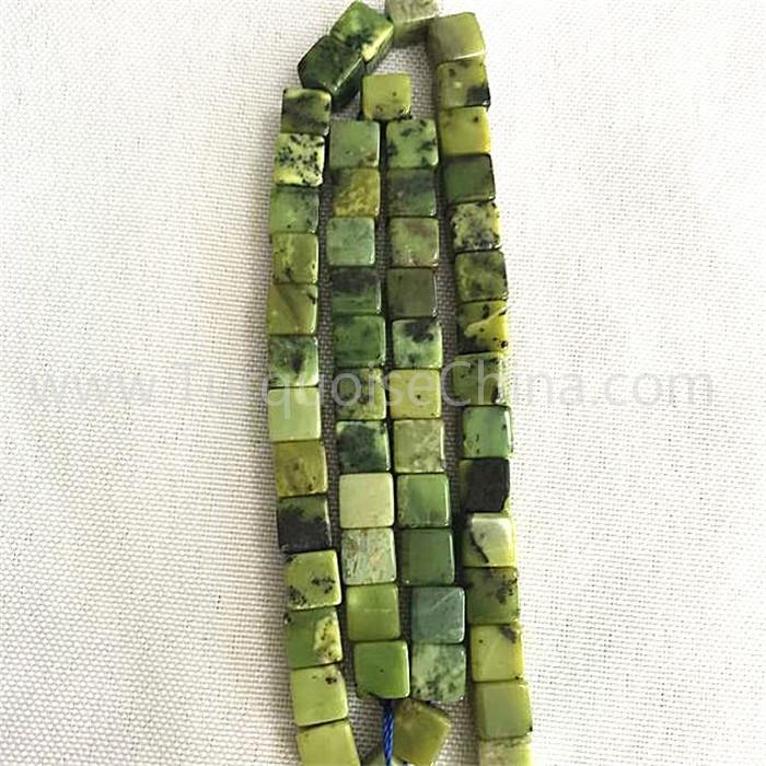 Natural green Chrysotine cube shape beads gemstone strings
