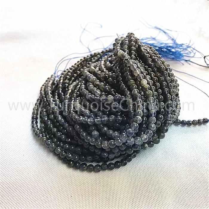 Natural Lolite regular round shape beads gray gemstone strings