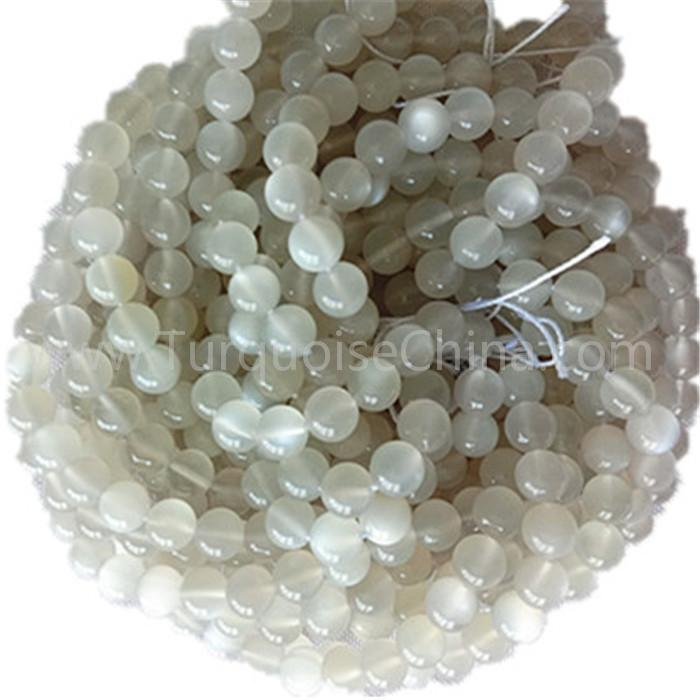 Natural white Moonstone AA round shape beads and smooth gemstone strings