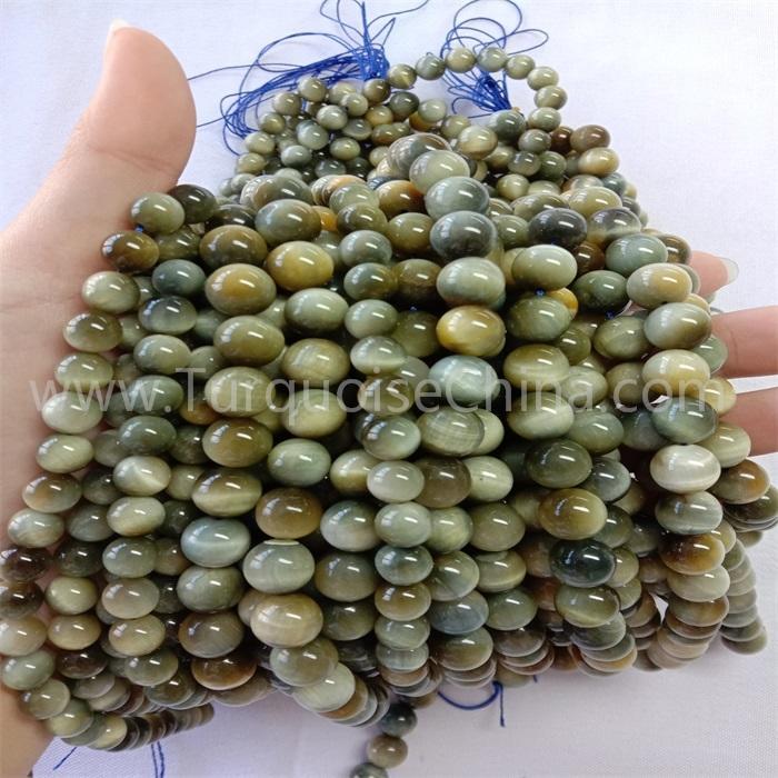 Natural gray tiger eye stone round shape beads gemstone strings