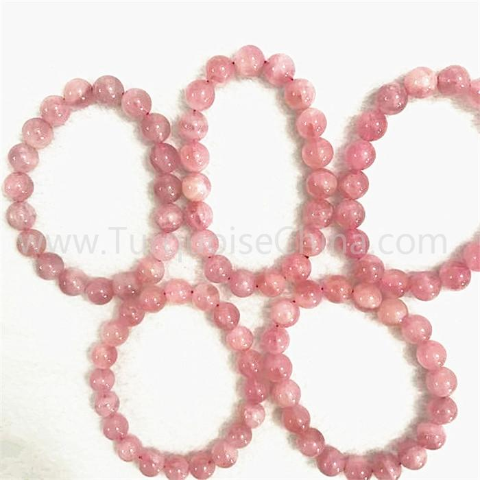 Natural pink crystal round shape beads gemstone bracelet