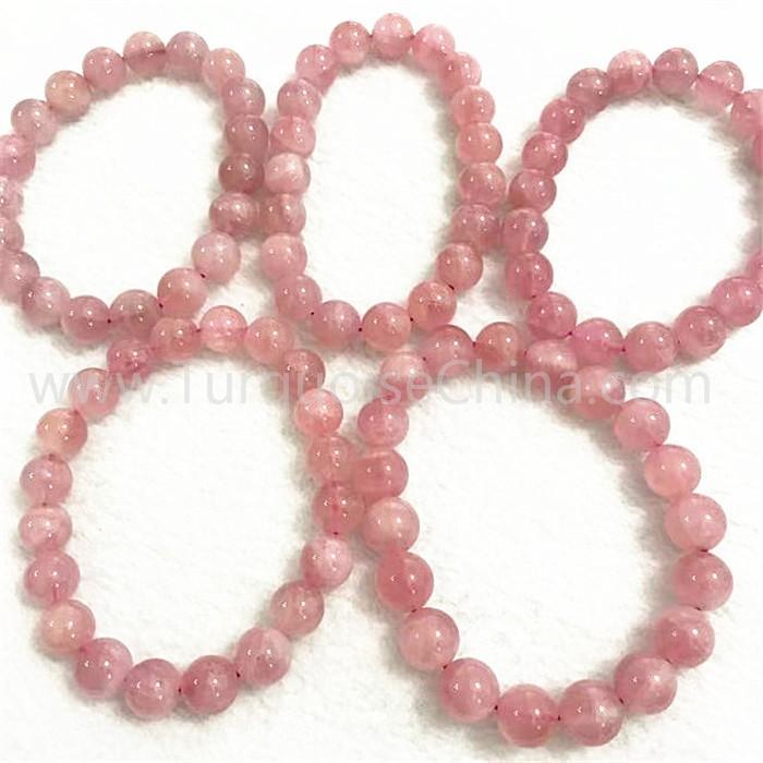 Natural pink crystal round shape beads gemstone bracelet