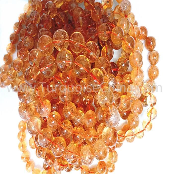Natural Citrine round shape beads yellow gemstone bracelet