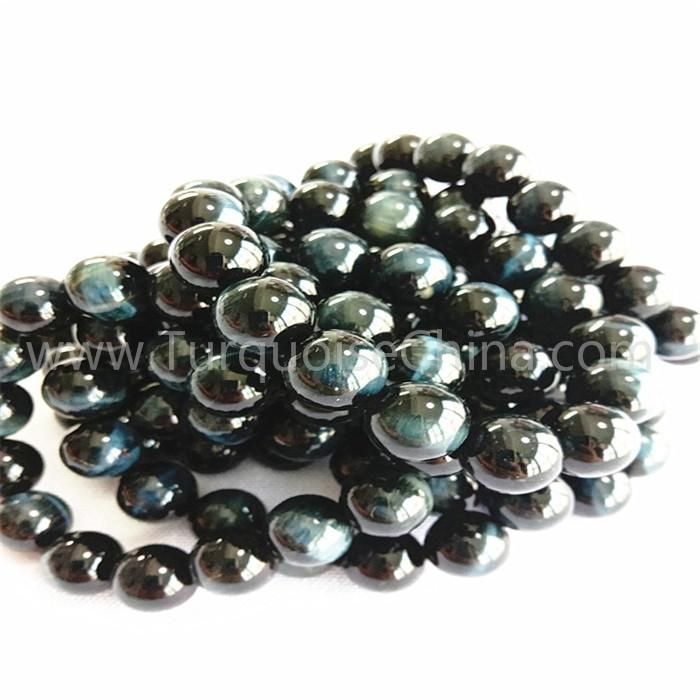 Natural blue tiger eye round shape beads gemstone bracelet