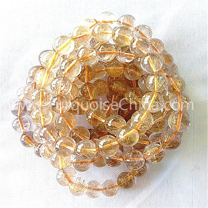 Natural golden Rutilated bracelet AAA round shape beads gemstone bracelet