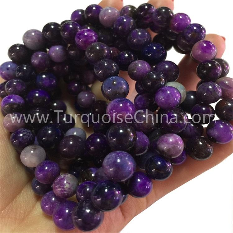 Natural Sugilite round shape beads gemstone bracelets
