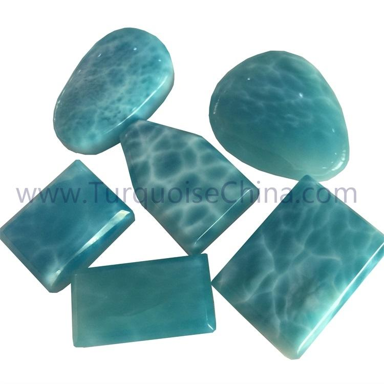 Natural Larimar varied shape gemstone cabochon