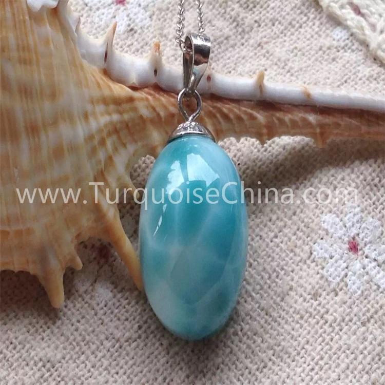 Natural Larimar oval shape pendant gemstone jewelry