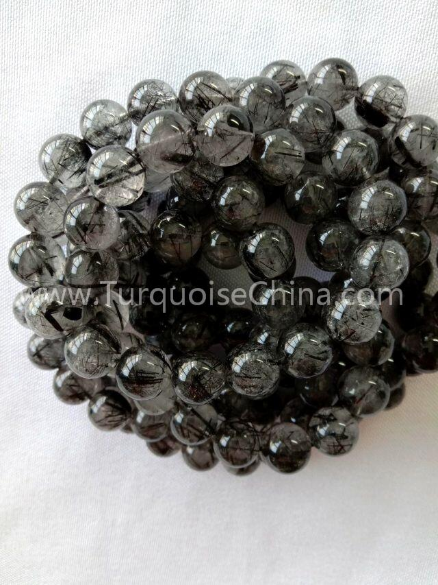 Natural Black Rutilated Quartz Crystal Round Beads Women Men Bracelet Jewelry