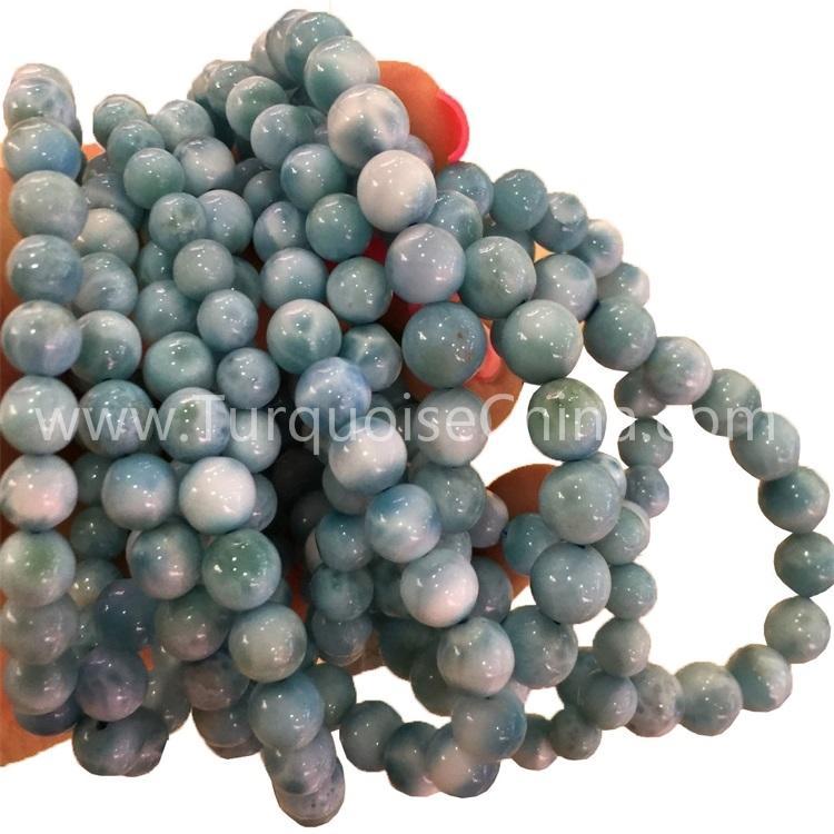 Genuine Natural Larimar Blue Gemstone Dominica Round Beads Bracelets