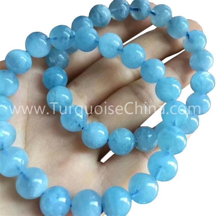 Natural Blue Aquamarine Round Gemstone Beads Bracelets