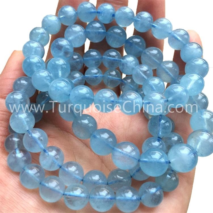 Natural Round Blue Aquamarine Bracelet/Fashion Jewelry