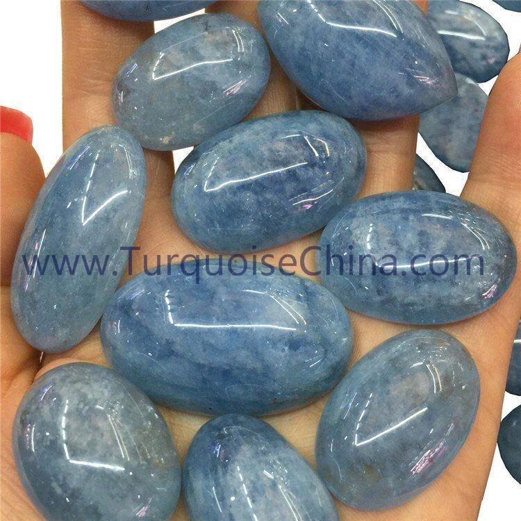 100% natural Blue Aquamarine oval cabochon fantastic gemstone