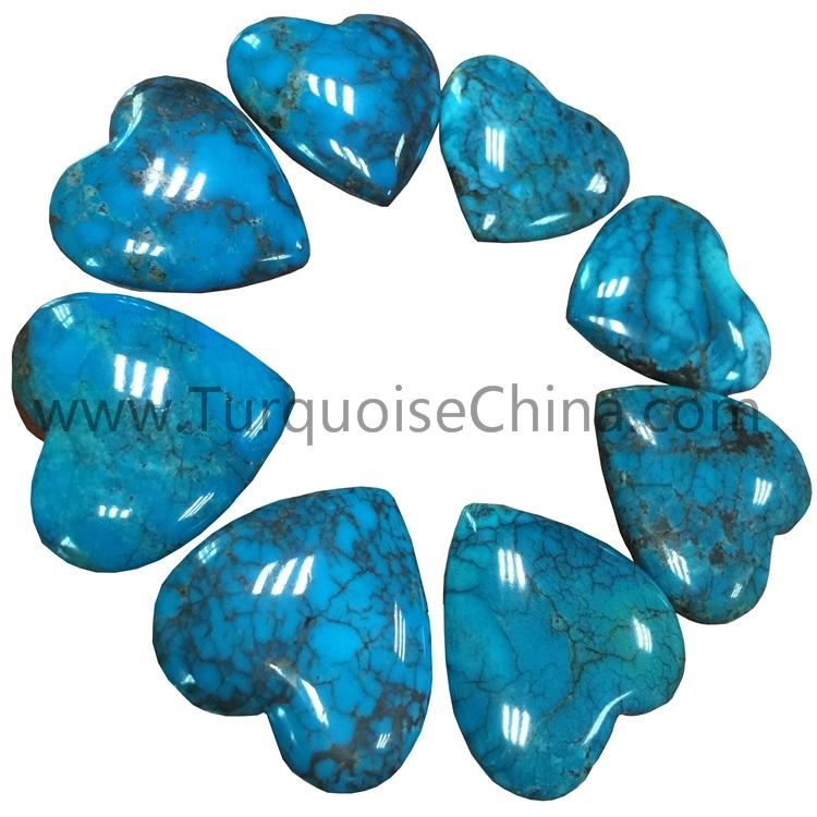 Natural Turquoise heart cabochon for making jewelry