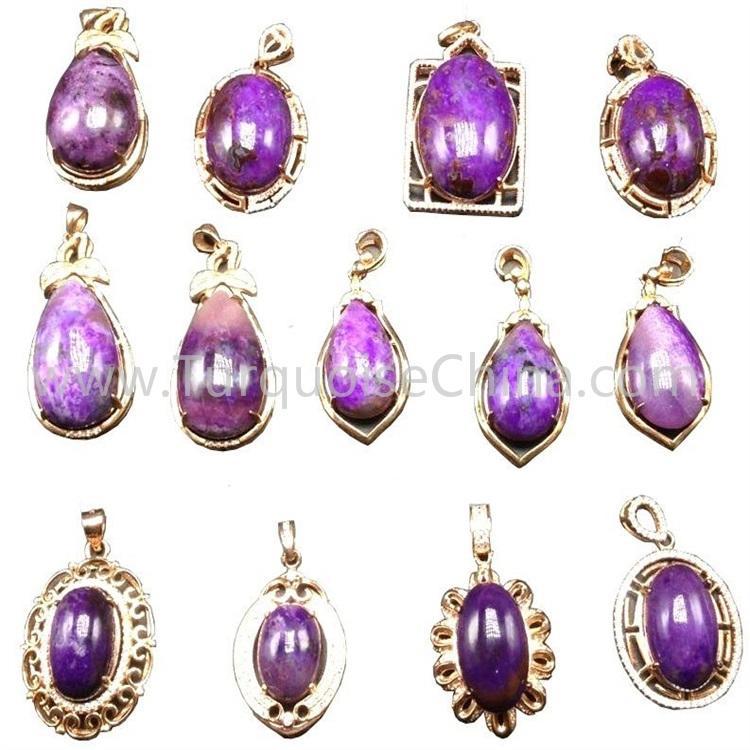 Genuine Natural Sugilite Purple Gemstone Pendant Woman Reiki Pendant