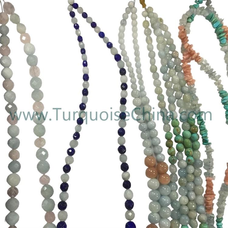 Natural Aquamarine beads necklace/Smooth Faceted round beads/Baroque style