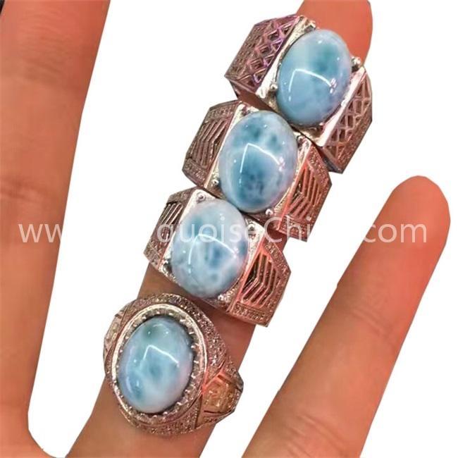 Natural Larimar Ring Jewelry