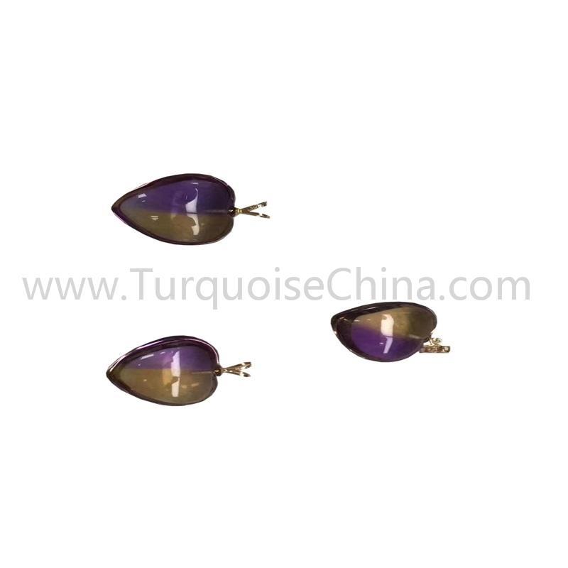 Hot-sale natural Ametrine heart shape pendant gemstone jewelry
