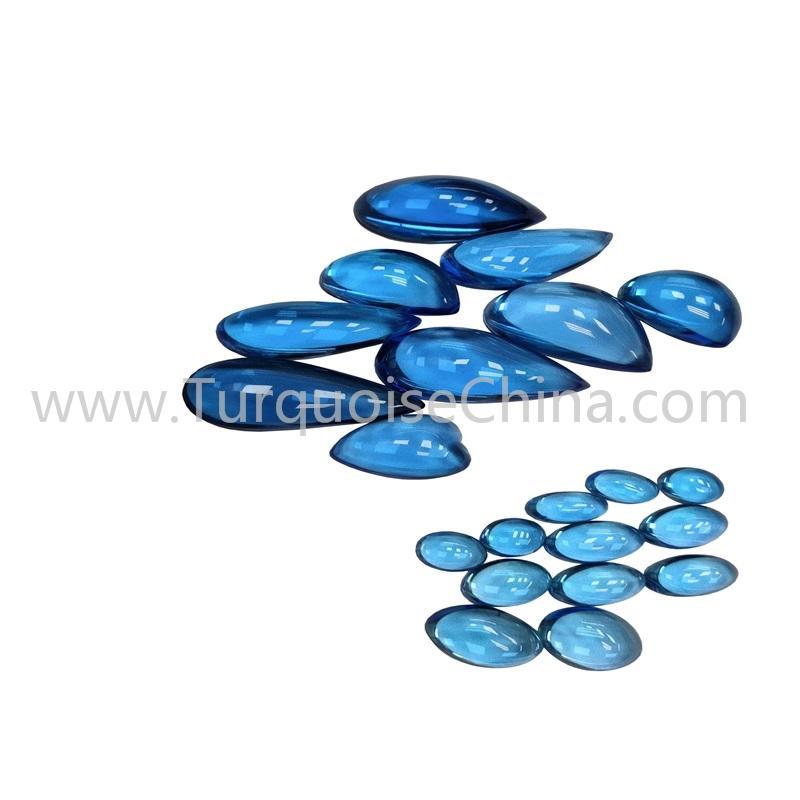 Beautiful Swiss Blue Topaz Oval/Pear Shape Cabochon Gemstone