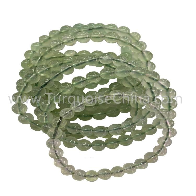 Hot-sale Natural Prehnite Round Beads Green Gemstone Bracelet