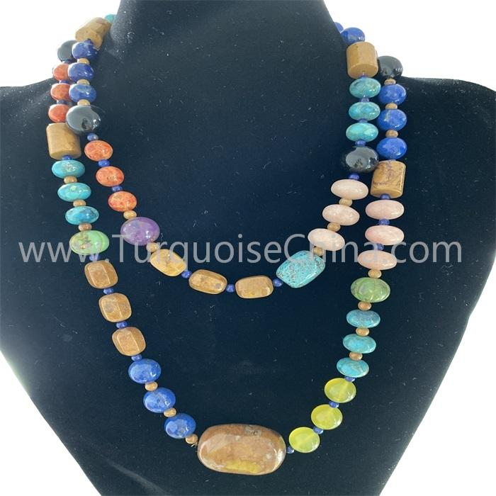 Natural Compressed Coral and Turquoise Necklace For Woman
