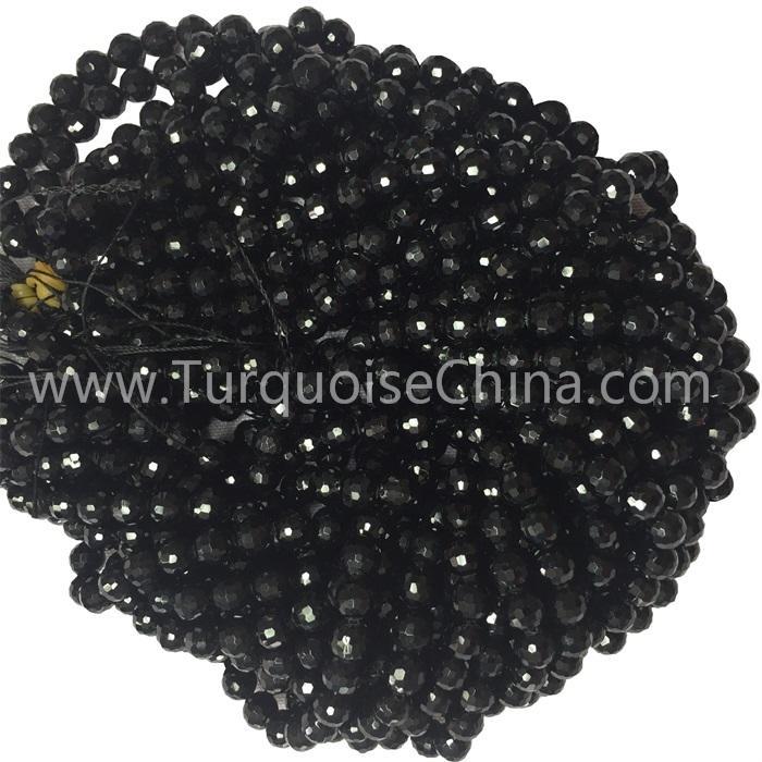 Hot-sale Black Tourmaline Faceted Round Gemstone Beads