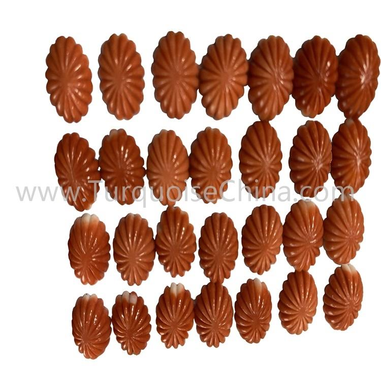 Wholesale Natural Orange Coral Cookie Shape Cabochon Gemstone For Jewelry