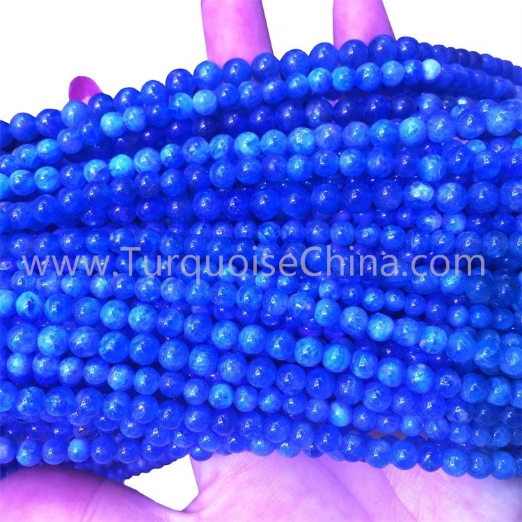 Hot-sale Blue Apatite Gemstone Round Beads Strings