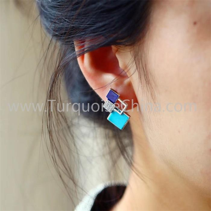 Hot-sale Natural Turquoise Square Earring Gemstone Jewelry