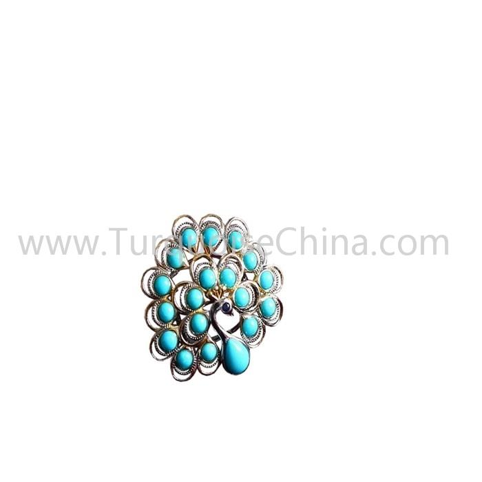 Beautiful Natural Real Turquoise Peacock Shape Gemstone Ring