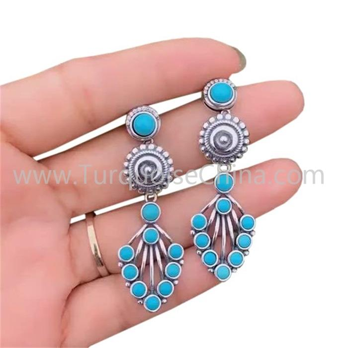 Fashion Turquoise Gemstone Earrings For Woman Turquoise Drop Earrings