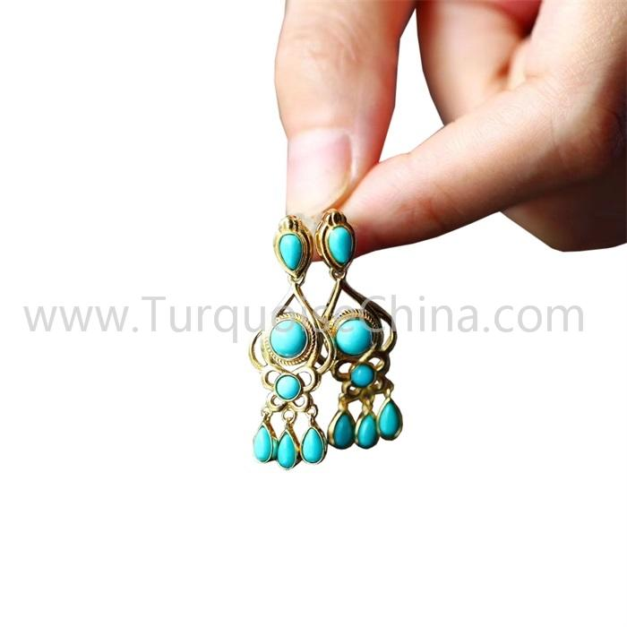 Genuine Natural Turquoise Gemstone Gold Earrings