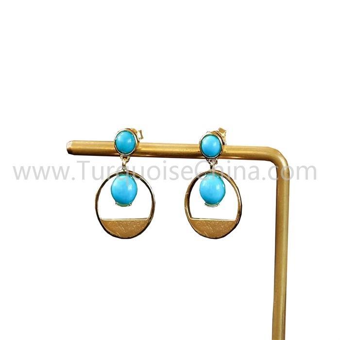 Fashion Turquoise Gemstone Gold Earrings