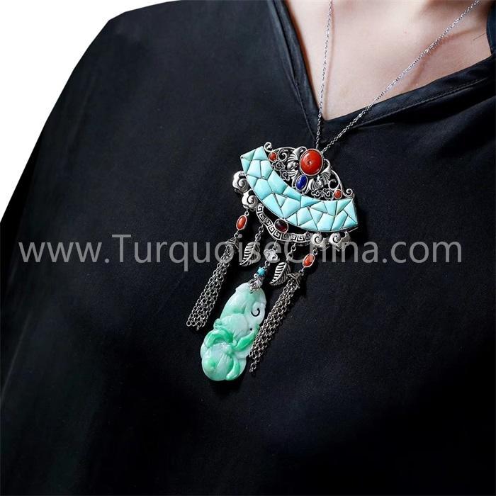 Jade budda and natural Turquoise pendant gemstone jewelry