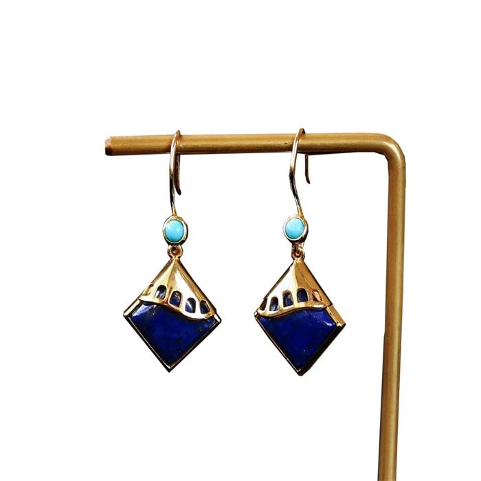 Hot-sale fashion natural Turquoise earrings gemstone jewelry
