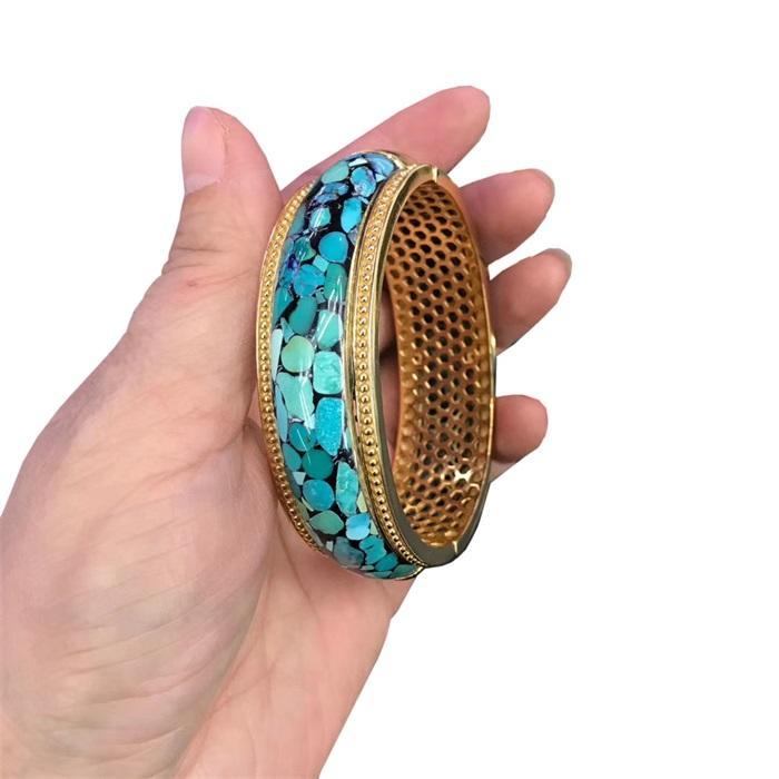 Hot-sale Extraordinary Natural Turquoise Gemstone Bangle