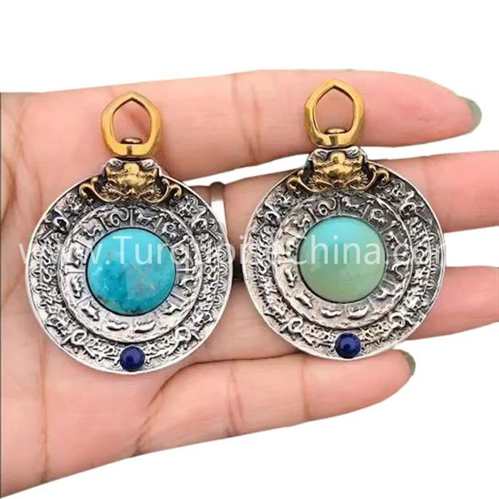 Classical Chinese zodiac and natural Turquoise pendant gemstone