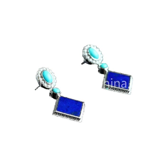 Unique Square Earrings Natural Turquoise Gemstone