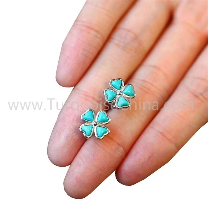Fashion Four Leaf Clover Earring With Natural Blue Turquoise