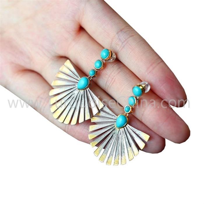 Woman Bohemia Earrings Natural Turquoise Gemstone